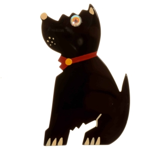 broche chien toy noir