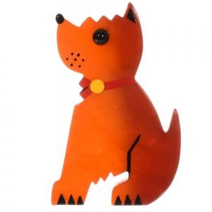 broche chien toy orange