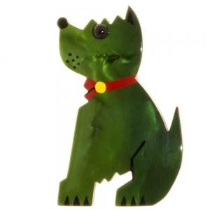 broche chien toy vert
