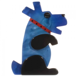 broche chien vaco bleu