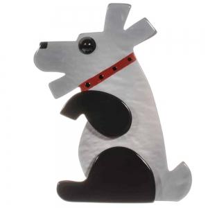 broche chien vaco gris