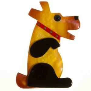 broche chien vaco jaune