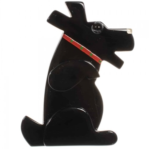 broche chien vaco noir