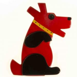 broche chien vaco rouge