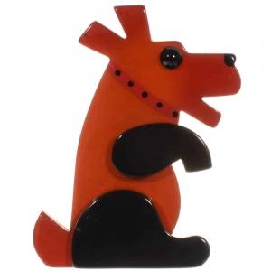 broche chien vaco roux