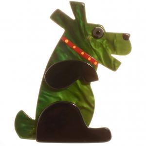 broche chien vaco vert