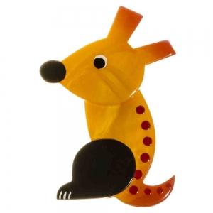 broche chien zazou jaune