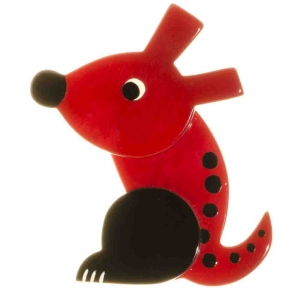 broche chien zazou rouge