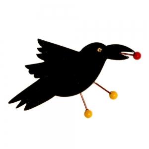 broche corbeau noir 1