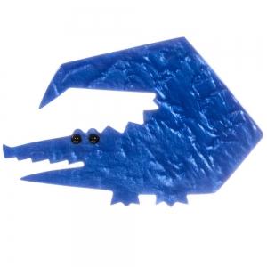 broche crocodile trapeze bleu