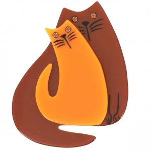 broche double chat caramel et orange