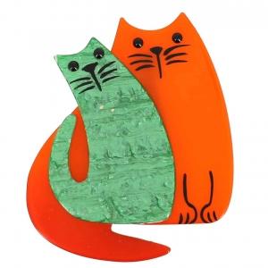 broche double chat orange et vert brillant