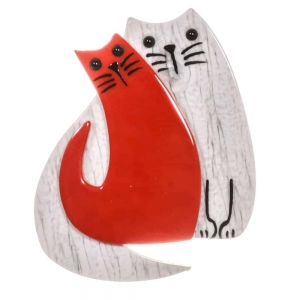 broche double chat perle rouge
