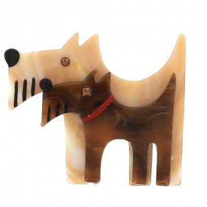 broche double chien beige marbre et roux brun