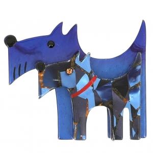 broche double chien bleu et bleu mosaique