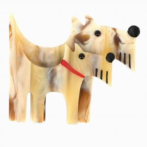broche double chien blond et blond