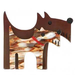 broche double chien brun et beige nacre