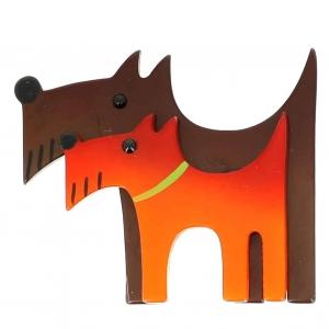 broche double chien brun et orange
