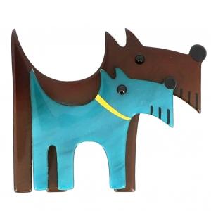 broche double chien brun et turquoise