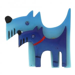 broche double chien ciel et bleu