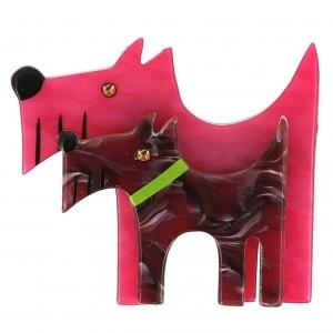 broche double chien fuchsia et rose marbre