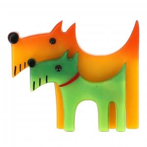 broche double chien jaune et vert