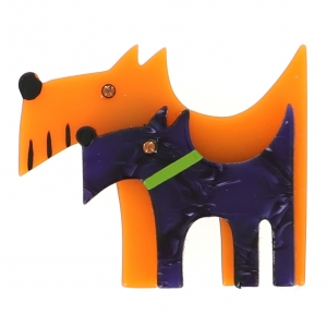 broche double chien orange violet