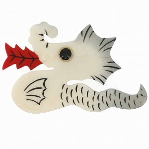 broche dragon blanc