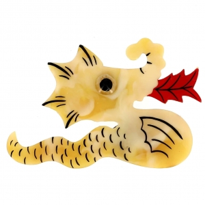 broche dragon jaune paille