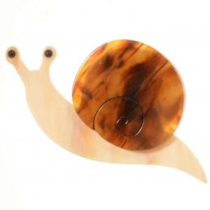broche escargot ecaille et ivoire