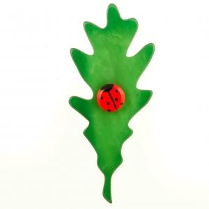 broche feuille de chene vert