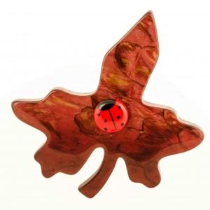 broche feuille de vigne rouge mordore