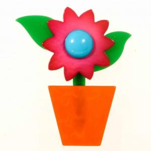 broche fleur en pot fuchsia