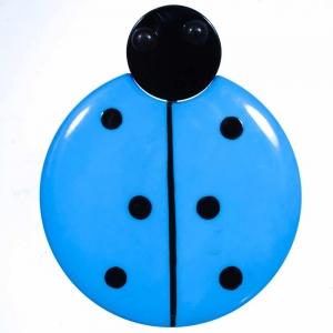broche grande coccinelle bleue