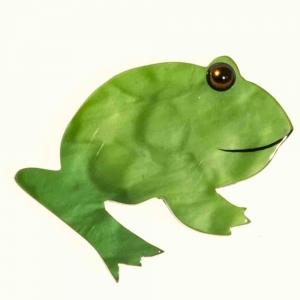 Broche en forme de grenouille de couleur verte