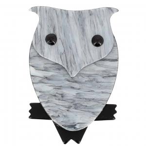 broche hibou gris
