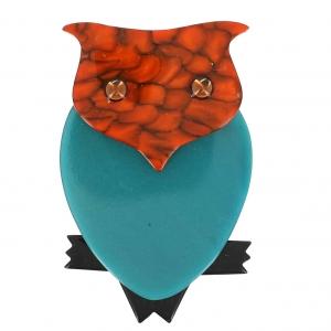 broche hibou turquoise et orange pommele 1