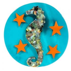 broche hippocampe petit turquoise