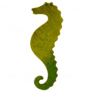 broche hippocampe vert