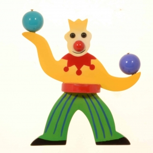 broche jongleur jaune et vert