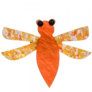 broche libellule orange