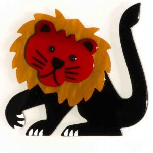 broche lion leo noir ocre et rouge