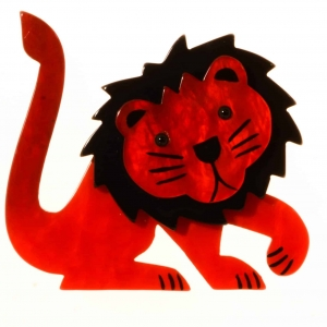broche lion leo rouge