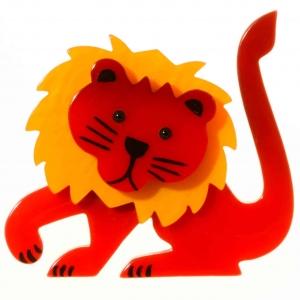 broche lion leo rouge et jaune