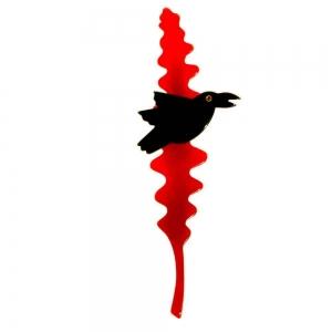 broche merle branche rouge et noir