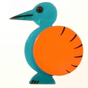broche oiseau pointu turquoise et orange 1