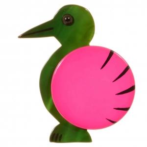 broche oiseau pointu vert et fuchsia 1