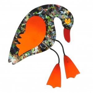 broche oiseau twisty brillant et orange