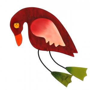 broche oiseau twisty carmin rose vert mousse