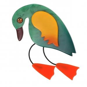 broche oiseau twisty emeraude jaune orange
